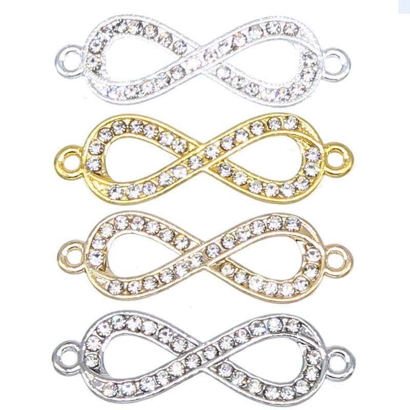 6 шт., позолоченные серебряные 8-образные бесконечные соединители для изготовления ювелирных изделий, аксессуары для браслетов, процесс «сд...