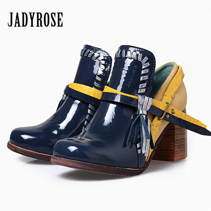 Jady Rose Blue Chunky High Heel Shoes Woman Mixed Color Tassels Women Pumps Female Fringed Short Ankle Boots Valentine Shoes jady rose suede women ankle boots fringed lace up high heel shoes woman rivets studded platform pumps valentine shoes