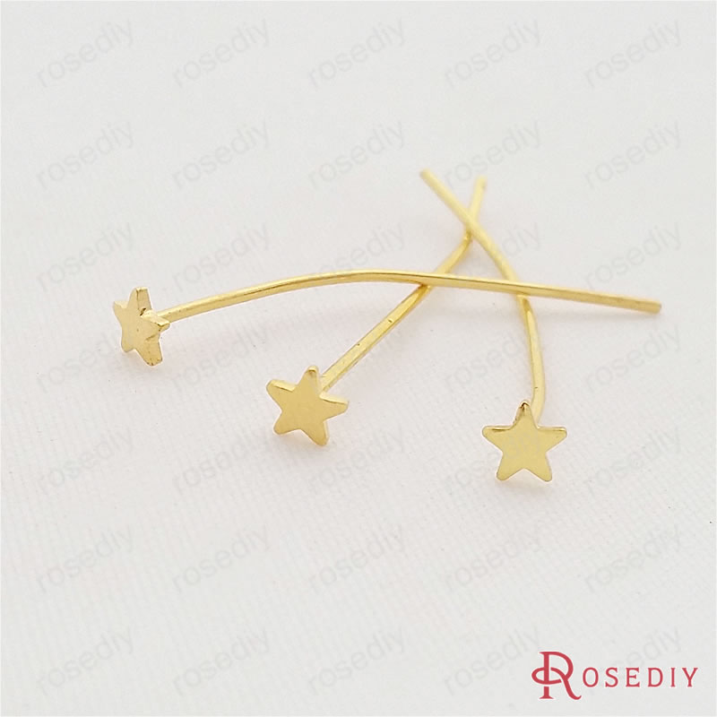 (29504)20PCS Full length 30*0.7MM Gold Color Plated Brass Star Flat Pins & Needles Diy Jewelry Findings Accessories wholesale
