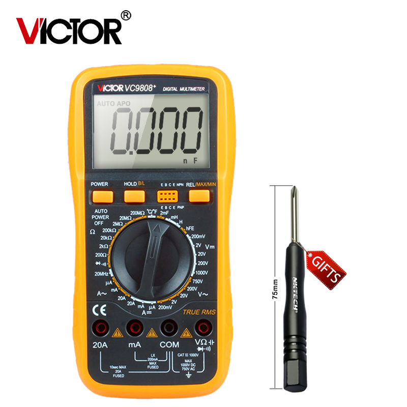 1pcs original VICTOR VC9808+ 3 1/2 Digital multimeter Electrical Meter Inductance DCV ACV DCA/R/C/L/F