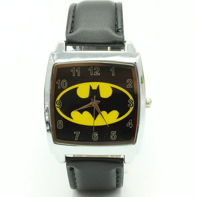 Free Shipping DC SUPER HEROES Black BATMAN WRIST STEEL WATCH Fashion Man Woman B