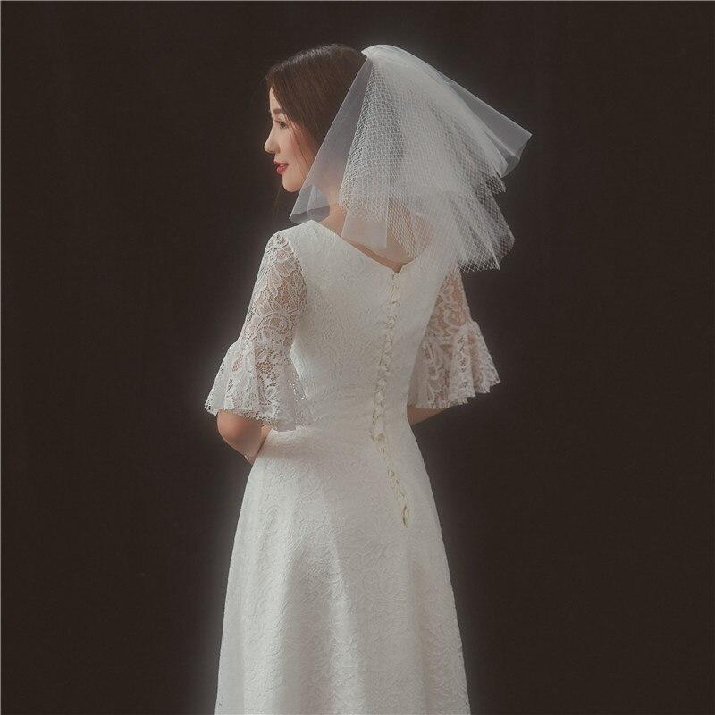 Купить короткая фата для невесты двухслойная из тюля цвета слоновой
