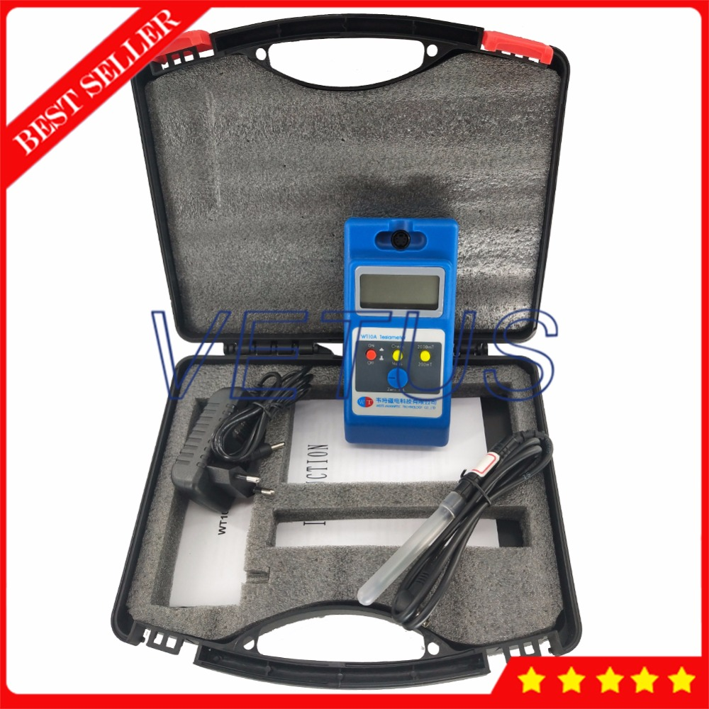 WT10A Surface Magnetic Field Tester Gaussmeter Measuring Instrument 0 2000mT with Portable Handheld Digital Gauss Tesla