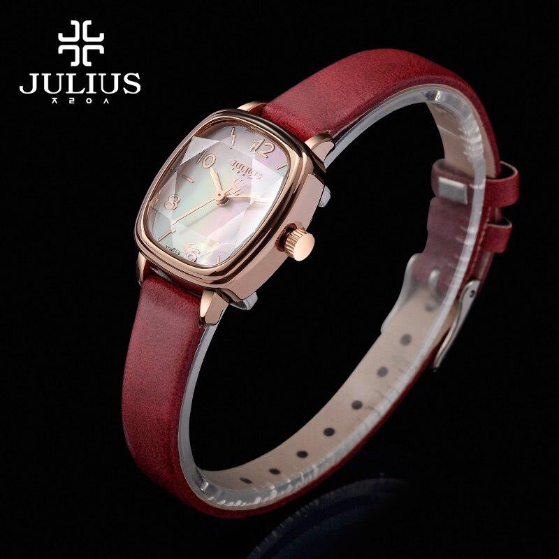 ФОТО JULIUS Brand Logo Top Luxury Women Watch Crystal Square dial Leather Strap Fashion Watches Rose Gold Relogio Feminino JA-885