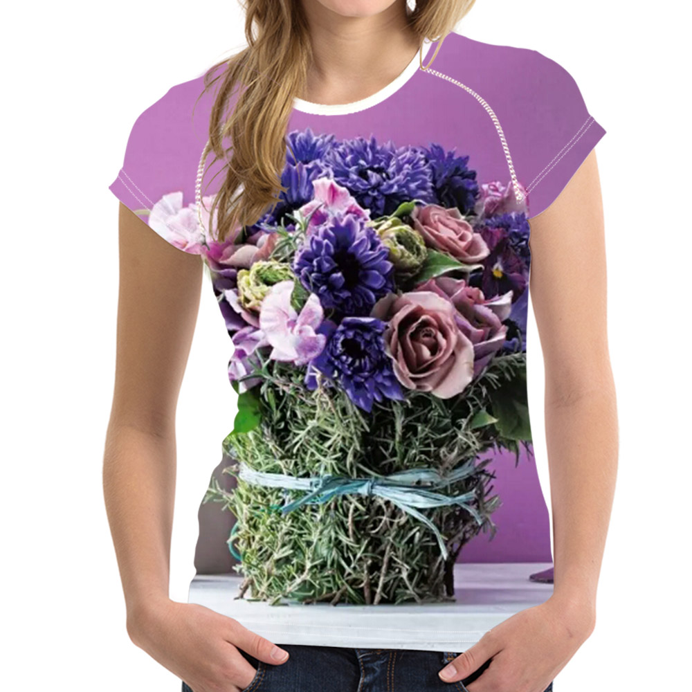 Noisy Designs Wome Causal T Shirt Purple Windflower Printed Elastic Wholesale Short Sleeve Summer T Shirt S-XXL