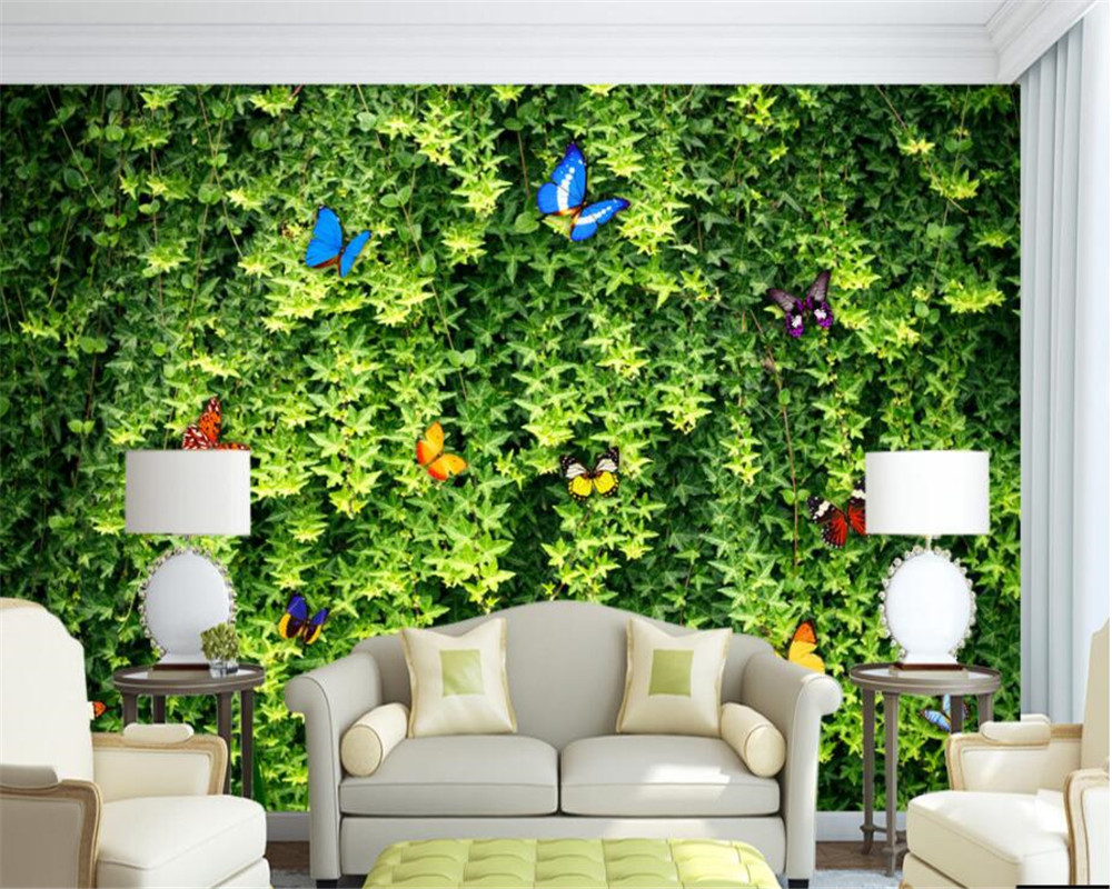 beibehang Custom 3D photo wallpaper Green leaves rattan mural 3D living room bedroom background wallpaper mural papier peint book knowledge power channel creative 3d large mural wallpaper 3d bedroom living room tv backdrop painting wallpaper