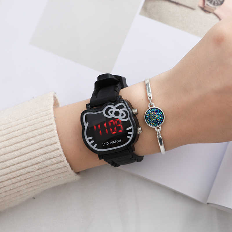 2019 Hello Kitty Cartoon Watches Kid Girls Leather Straps Wristwatch Children Hellokitty Quartz Watch Cute Clock Montre Enfant