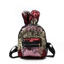 New Sequin Backpack Cute Cartoon Rabbit Ears Backpack Personality Street Leisure Travel Bag A438