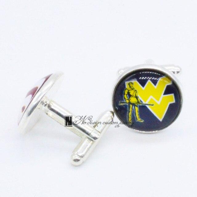 Gorąca Sprzedaż University of West Virginia Górale NCAA Spinki Mankietów Link męska 3 Para Darmowa Wysyłka Największy Promocja CUF096