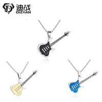 Fashion 3 Color Carving Guitar Pendant Necklaces Bead Chain For Men Women 316L Stainless Steel Necklace
