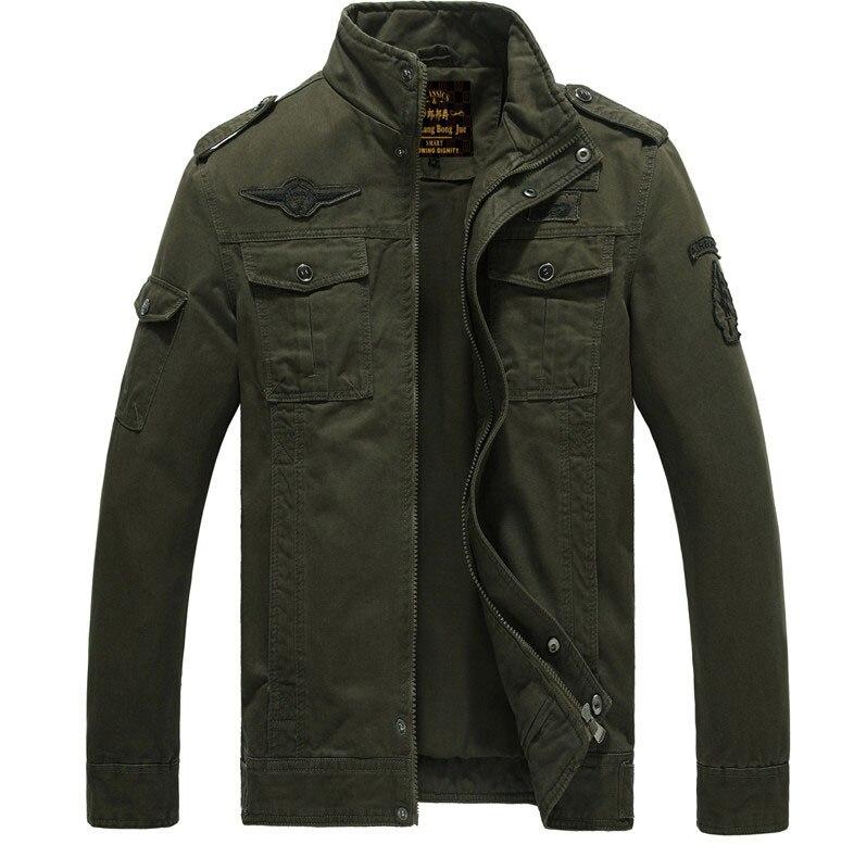 Мужская куртка-бомбер, весенне-осенние куртки, мужские пальто, военная верхняя одежда, куртка со стоячим воротником, мужская куртка, veste homme M-6XL - Цвет: army green
