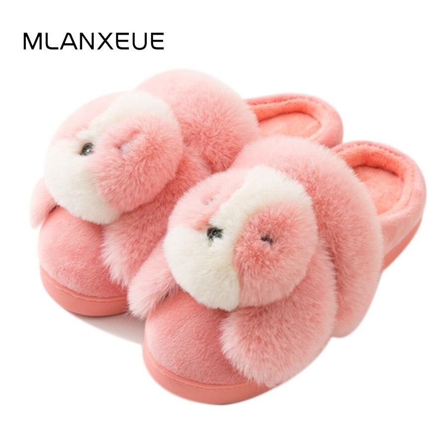 MLANXEUE Kawaii Cartoon Dog Plush Women Cotton Slippers Cozy Slip On Home Slippers For Women Chic Warm Ladies Shoes Slippers цена 2017