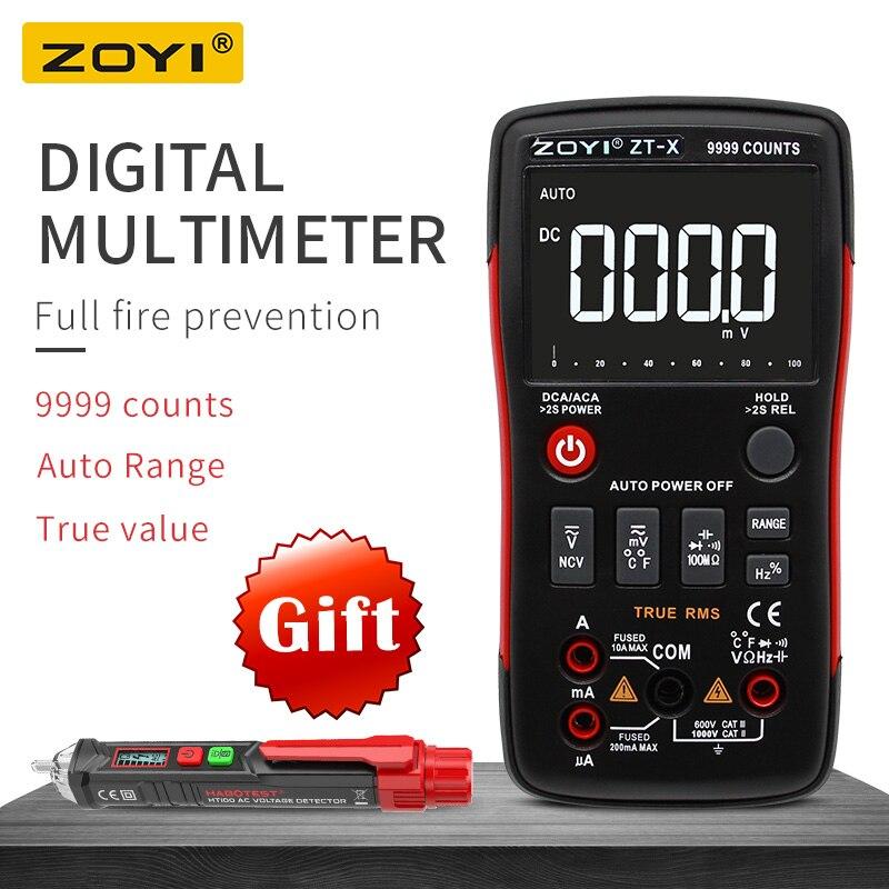 ZOYI ZT-X True-RMS Авто Диапазон Цифровой мультиметр AC/DC Вольтметр Амперметр 9999 отсчетов НТС держать ЖК-дисплей подсветка дисплей как RM409B