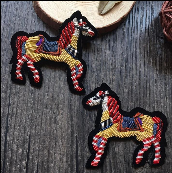 Diy Handmade Embroidered Patch: Horse Silk Emboridered Patch Brooch India Silk Wire