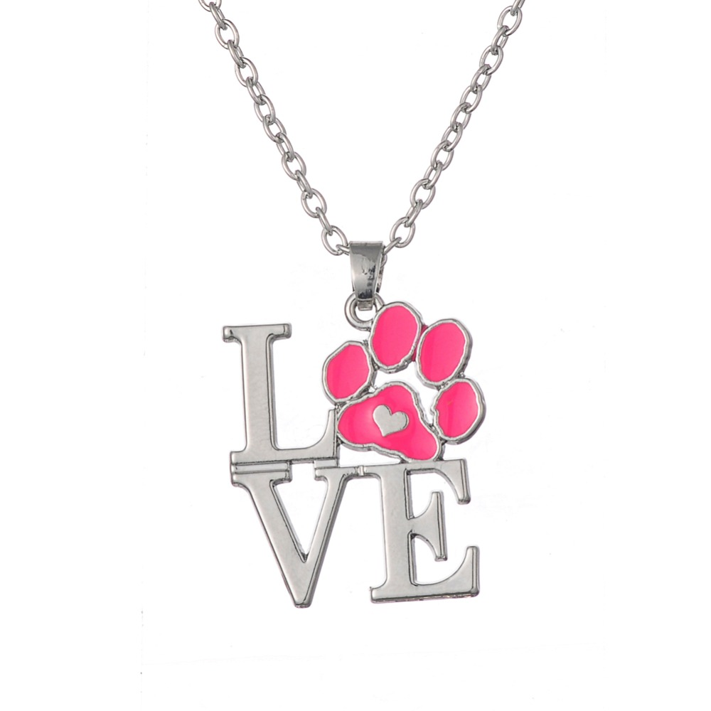 Pink red Enamel Animal Pet Dog Cat Heart Pendant Necklaces Jewelry for Women Christmas Gift Dropshipping