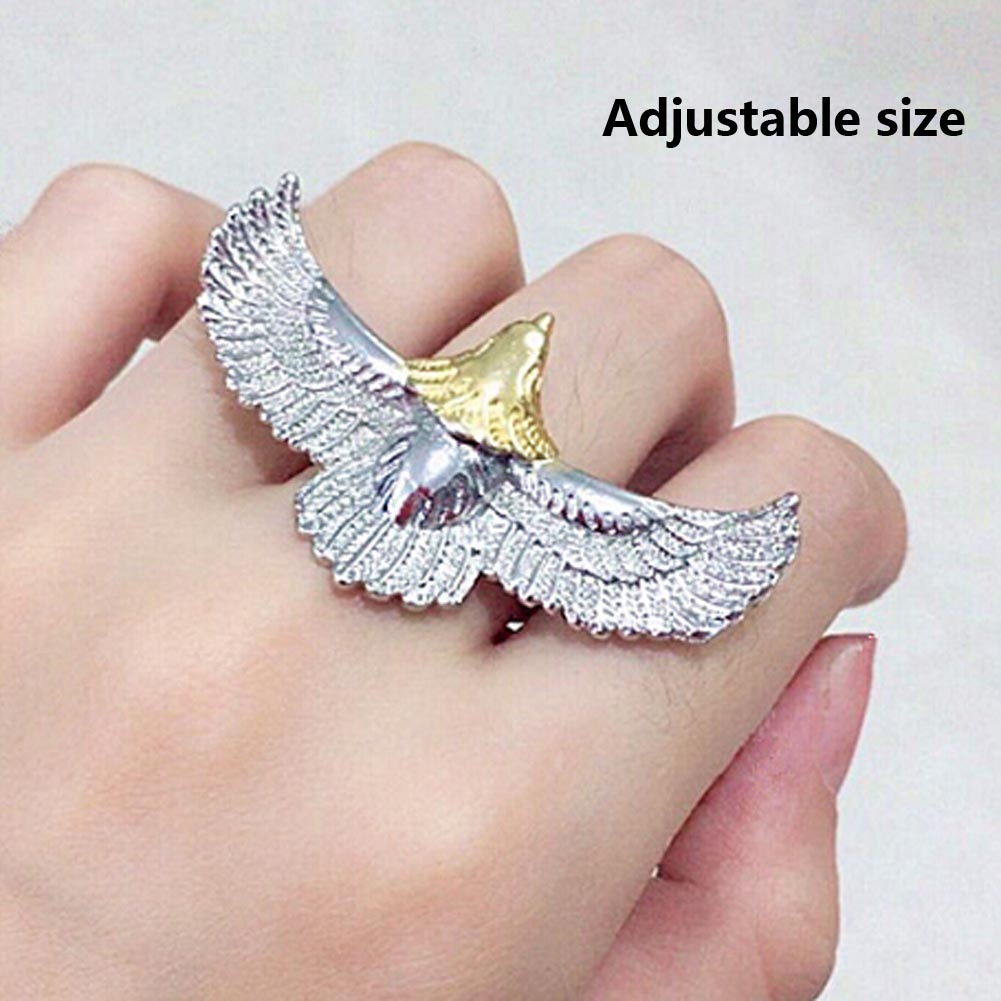 Hot Sale New Fashion Metal Eagle Opening Ring Personality Bird Eagle Wing Adjustable Ring For Men Unisex Jewelry
