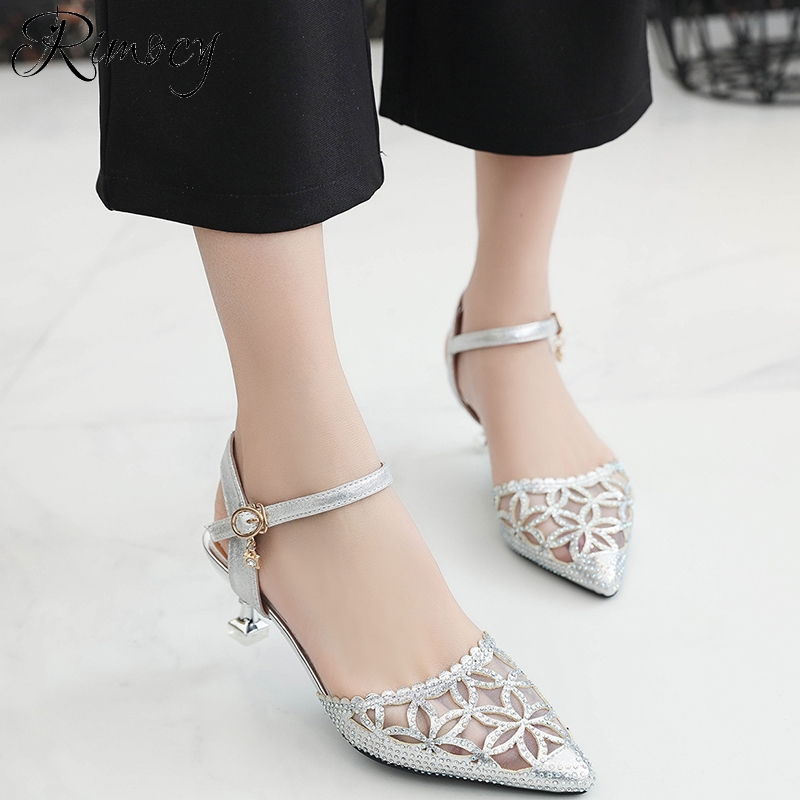 Rimocy sexy mesh pointed toe sandals women 2018 fashion gold silver hollow out crystal summer shoes woman working party pumps