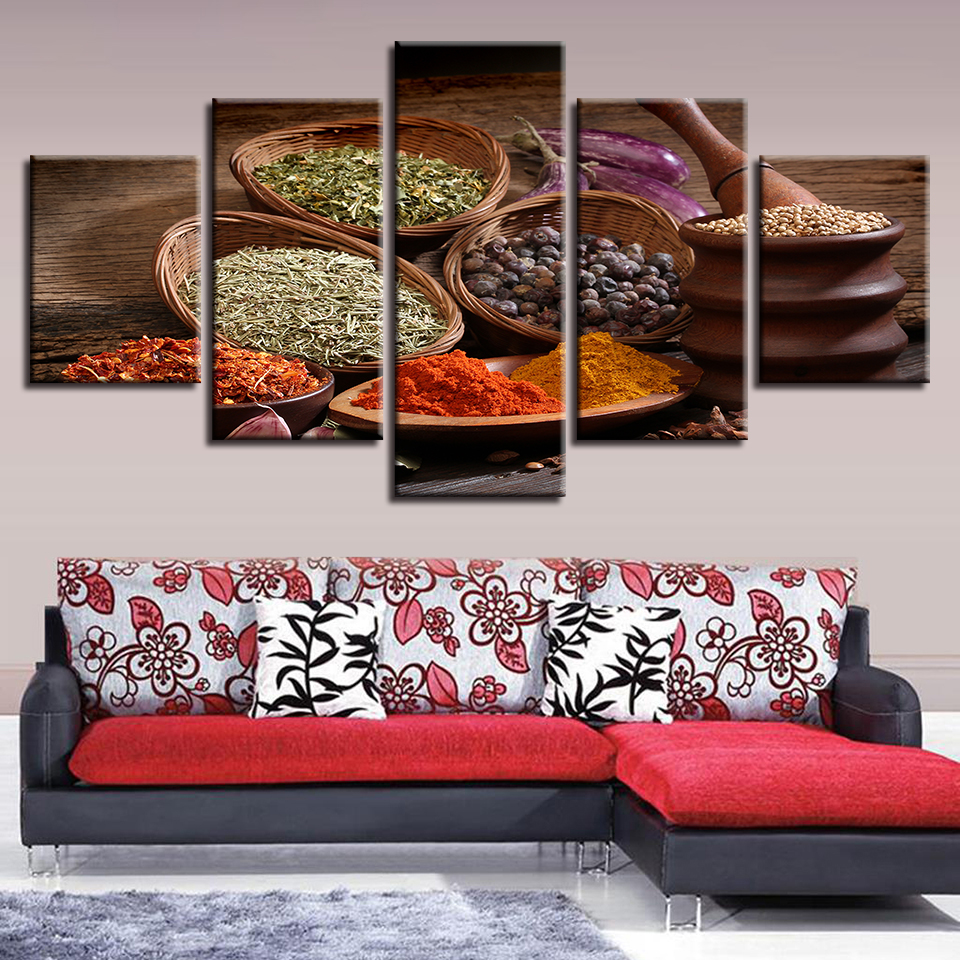 HD Printed Canvas Poster Framework 5 Panel Kitchen Condiment Home Decor Living Room Wall Art Painting Modular Pictures