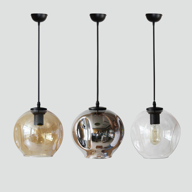 Modern pendant lights copper chrome glass ball lamp shades for dining room living room pendant lamp
