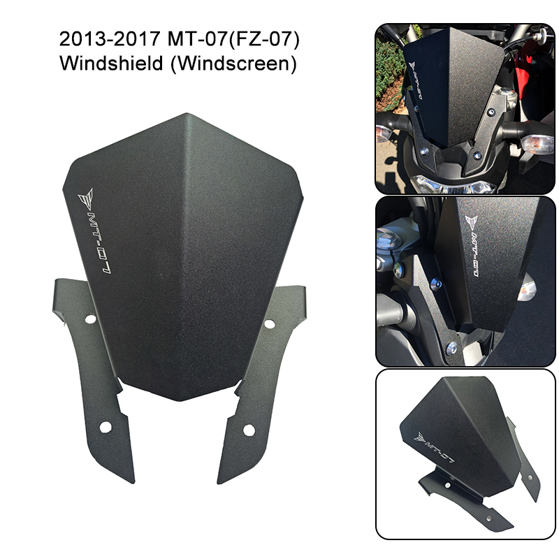 For Yamaha MT-07 (FZ-07) MT07 Motorcycle Motorbike Windshield Windscreen Aluminum Black For Yamaha FZ 07 MT 07 2013-2017 New yomt motorcycle motorbike windshield smoke race screen for yamaha tmax530 2012 2014 2013 12 13 14 windscreen
