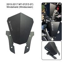 For Yamaha MT-07 (FZ-07) MT07 Motorcycle Motorbike Windshield Windscreen Aluminum Black For Yamaha FZ 07 MT 07 2013-2017 New