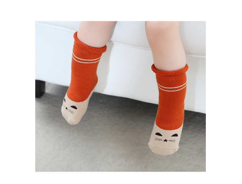 0-2Y Winter Baby Girl Boy Cotton Warm Thickness Knee Socks Children Kids Terry Loose Top Anti-slip Middle Tube Sox 3pairs/Lot 8
