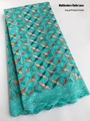 5 jardów Aqua brzoskwiniowe złoto szwajcarski woal koronki miękkiej bawełny afryki koronki tkaniny Nigeria szycie ubrań tkaniny bez otworów wysokiej jakości