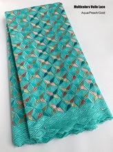 5 ヤードアクア桃ゴールドスイスボイルレースソフト綿アフリカレース生地ナイジェリア衣服縫製布なし穴高品質