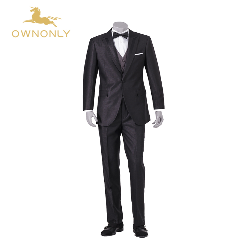 Aliexpress Buy OWNONLY 2017 Mens Striped Suit Wedding Groom TuxedoTailored 3 Piece Black Tuxedos For Men From Reliable