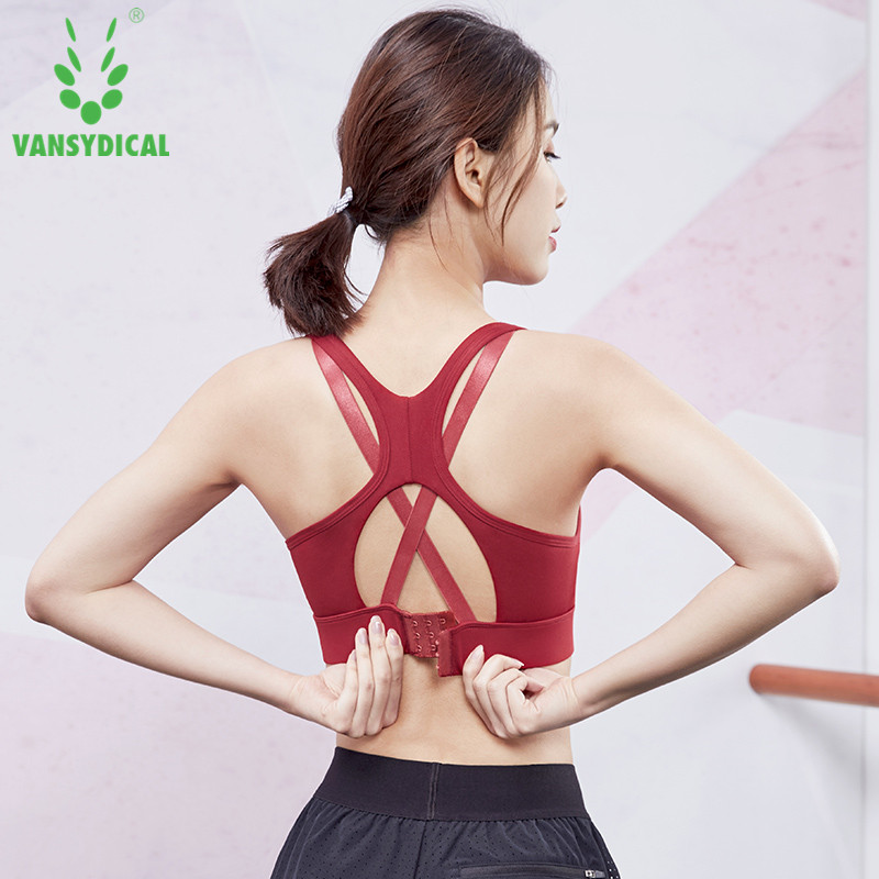 Adjustable Women Sports Bra Padded Shockproof Female Yoga Fitness Crop Tops Cross Strappy Running Workout Gym Brassiere S-XL image