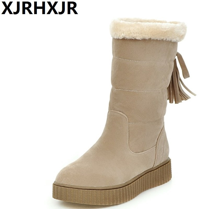 XJRHXJR Women Half Knee Snow Boots Woman's Round Toe Fashion Russia Winter Warm Fur Boots Ladies Shoes Outdoor Botas Footwear karinluna women half knee snow boots rubber sole round toe platform warm fur shoes winter ladies footwear bootas mujer