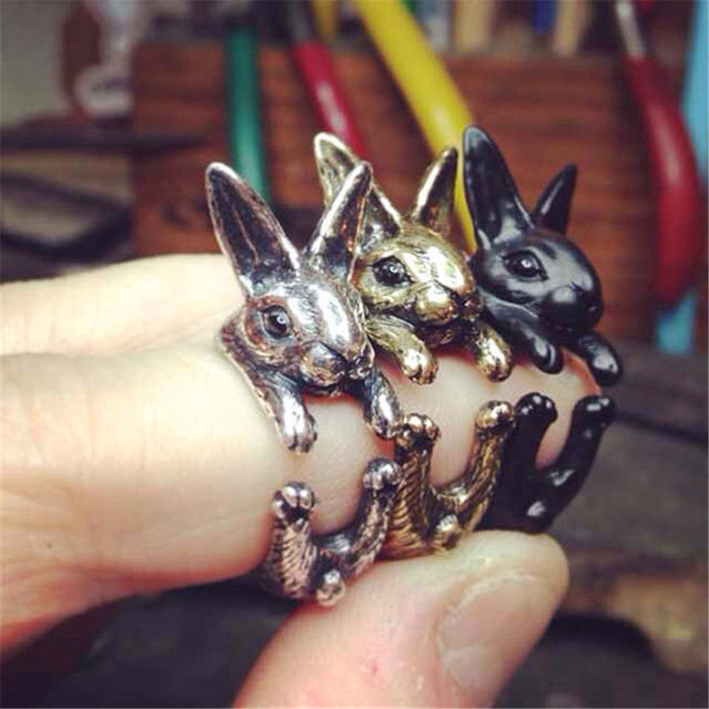 CHENGXUN Cute Rings Women Kids Jewelry Animal Opening Rings Big Ear Bunny Rabbit Mid Finger Wrap Rings Lady Costume Jewelry