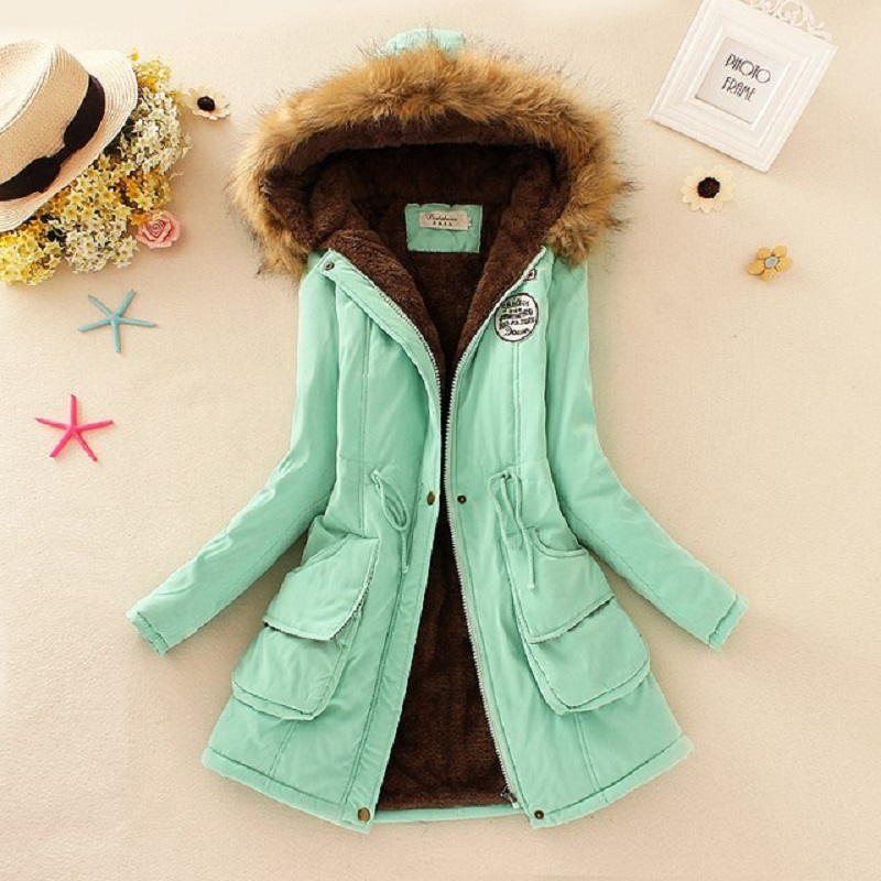 SHIBEVER Women Jacket Coats Fashion Fur Hooded Winter Basic Jackets Parka Solid Wild Plus Velvet Long Warm Casual Jacket FTJK142