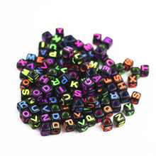 PZ17 Hot Sale 100 Units / Pack Colorful Alphabet Letters Dice Flat Loose Cube 7mm Spacer Beads For DIY Bracelets & Necklaces(China)