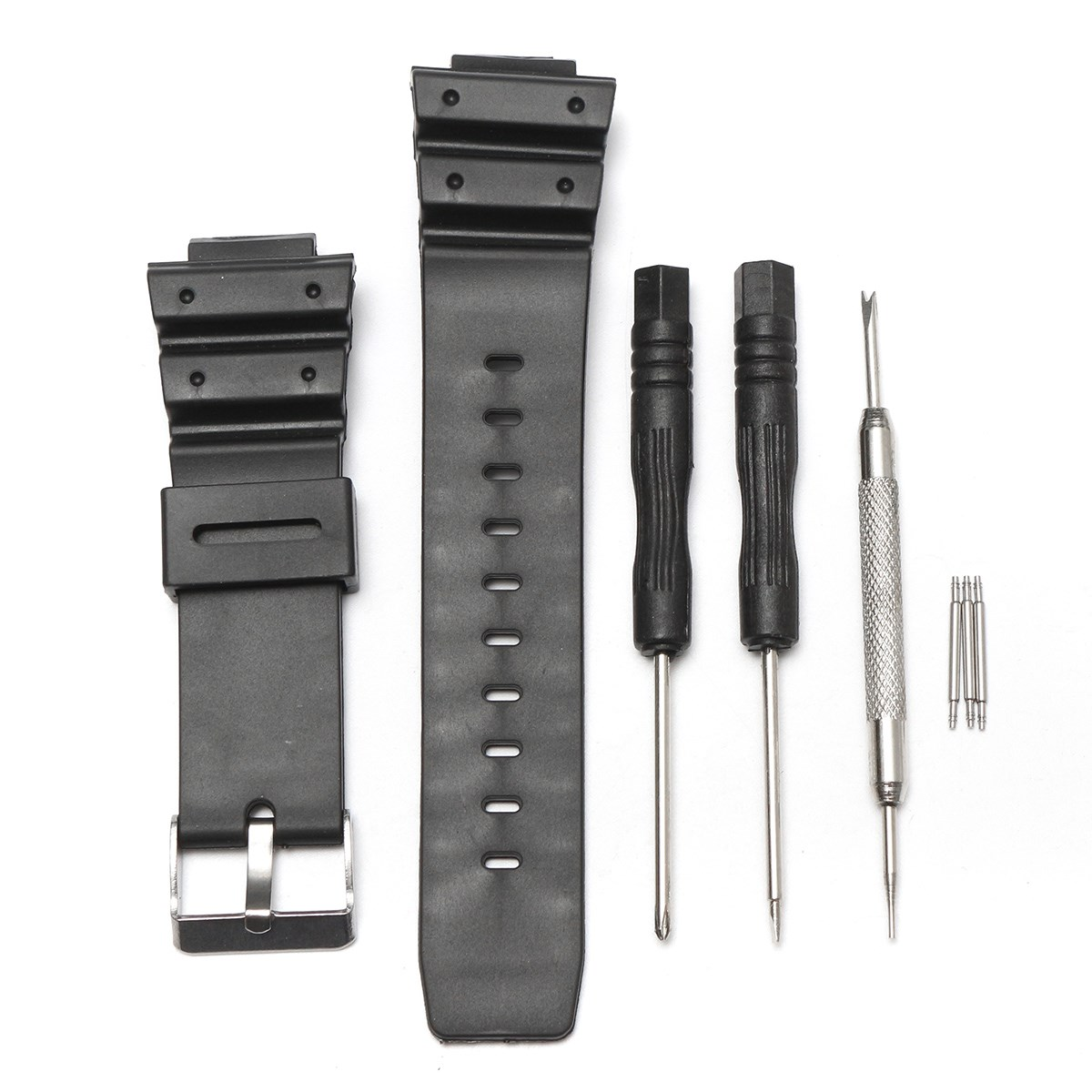 Rubber Watch Bands Strap Sport Waterproof 25mm Men Silicone Bracelet With Silver Steel Metal Needle Buckle For/Casio Accessories hengrc 22mm rubber watch band strap men soft diving black hole silicone sport watchband bracelet metal pin buckle accessories