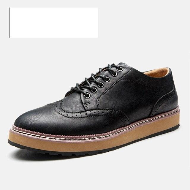 4da70d1eae970 Güzel 6266 Yeni Stil Erkek Brogue Ayakkabı Moda Klasik İngiliz oyma Yumuşak  PU Dantel Kadar Kalın