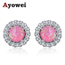 Ayowei New arrivals pink Fire Opal white crystal Silver Fashion Jewelry Stud Earrings wedding gift for women OE687A