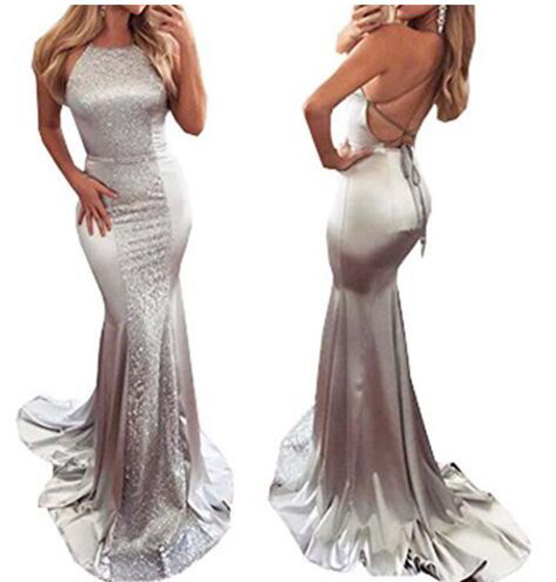 Sexy Lady Halter Mermaid   Bridesmaid     Dresses   Sparkly Silver Sequins Cross Bandage Backless Long Prom Party Wear   Dress   Bridal Gown