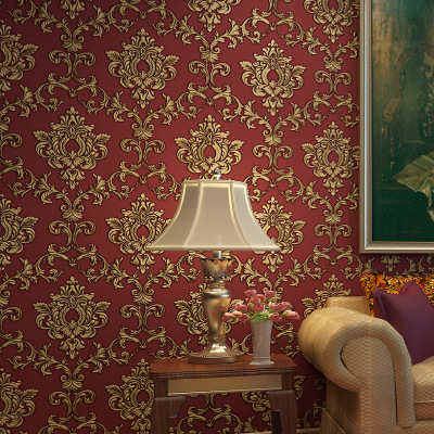Европейский Классический Узор Настенная бумага фон 3D глубокий рельефный дамасский нетканый спальня гостиная обои рулон