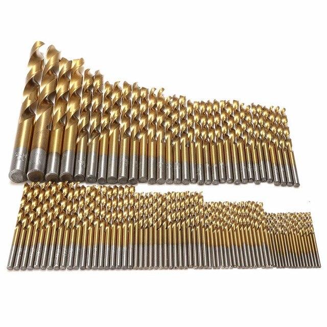 """99 יחידות טיטניום HSS מקדחי מצופה 1.5 מ""""מ-10 מ""""מ נירוסטה HSS במהירות גבוהה מקדח סט למקדחה חשמלית כלים HT706"""