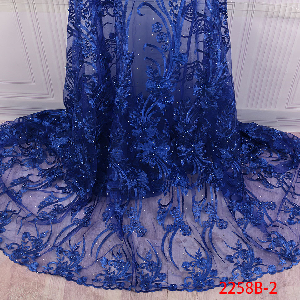 Image 3 - African Nigerian Lace Fabric 2019 High Quality Embroidered Tulle  Lace Fabric With Beads Stones Guipure Lace Trim Dress QF2258B 1Lace