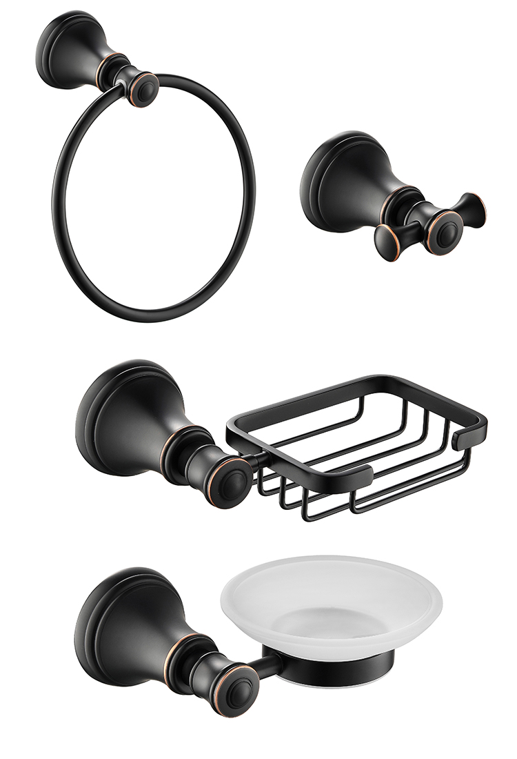 Ensemble d'accessoires de matériel de salle de bain | Bronze frotté à l'huile 4 pièces anneau de serviette crochet de Robe panier à savon
