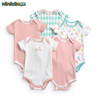 Mimiwinga Baby Girl Full Cotton BodySuits Summer 2019 New 5pcs/lot Babe Clothing Toddler 3M 2T Short Sleeve Clothes Pink White