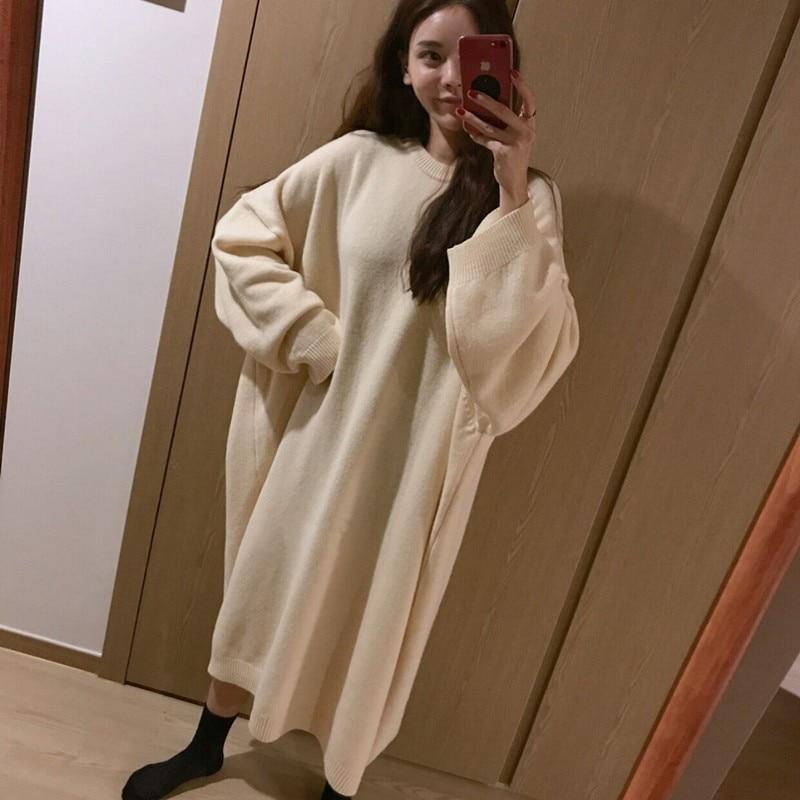 6baa37e0888 Plus Size Knitted Sweater Dress Winter Autumn Women Maxi Dress Knitting  O-Neck Warm Dress