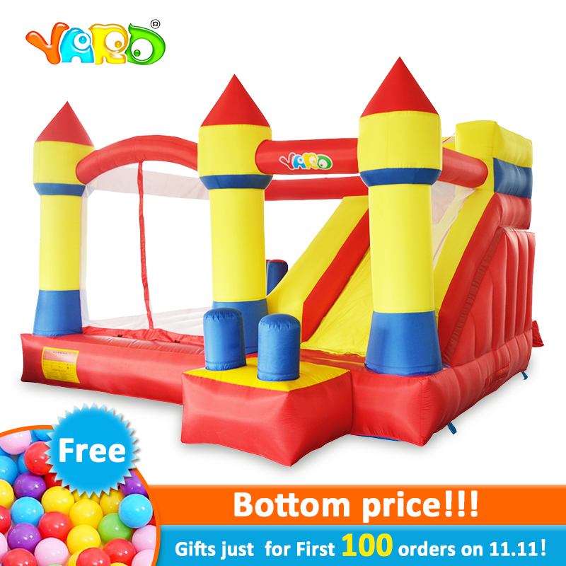 YARD Inflatable Castle Slide Bouncer Jumper for kids 4x3.5x2.5m Big Inflatable Bouncer House Trampoline Outdoors Free PE Balls yard inflatable games trampoline bouncer house with slide children outdoors oxford pvc inflatable castle moonwalk bouncer blower