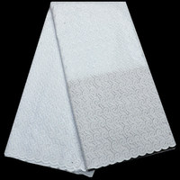 5yards Pc High Quality African Dry Cotton Lace Fabric In Plain White With Elegant Design