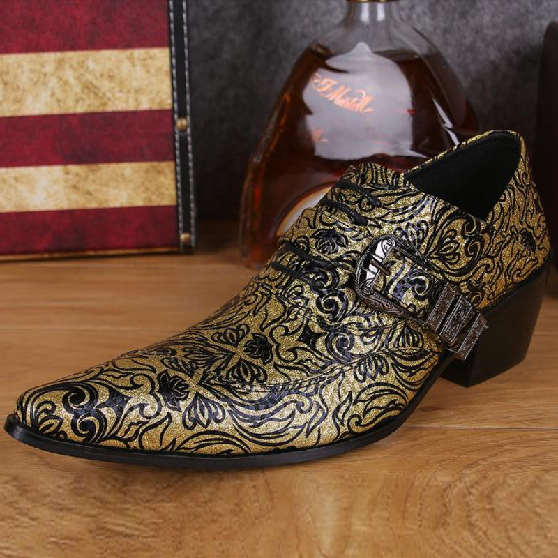 Plus Size Fashion Pointed Toe Italian Man Rocker Oxfords High Heels Genuine Leather Men's Formal Dress Party Banquet Shoes SL287 plus size 2016 new formal brand genuine leather high heels pointed toe oxfords punk rock men s wolf print flats shoes fpt314