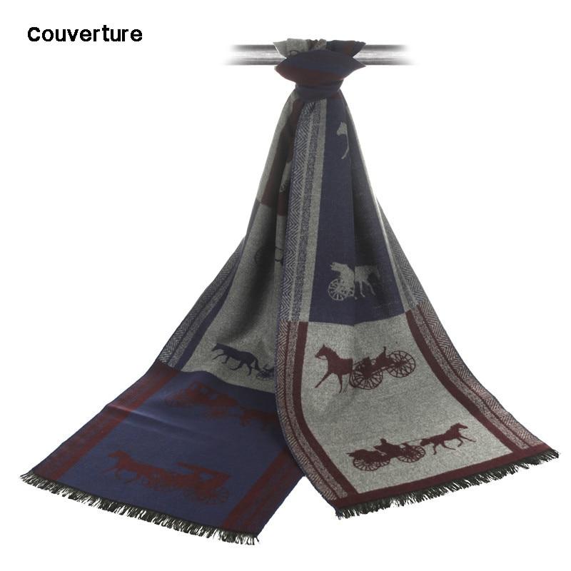 Écharpe de marque de luxe écharpe de mode hommes Couverture hiver unisexe motif calèche glands écharpes
