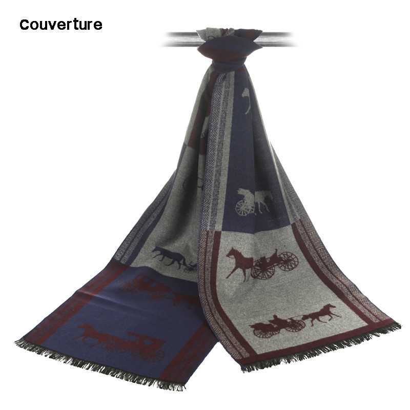 Couverture Fashion Men Business Scarf Luxury Brand Echarpe Winter Unisex Horse Carriage Pattern Tassels Scarves