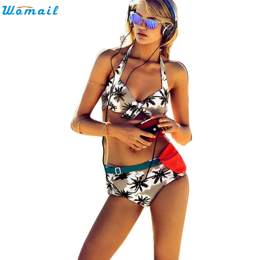 2017 New Sexy Bikinis Women Swimsuit High Waisted Bathing Suits Swim Halter Push Up Bikini Set Swimwear maillot de ba Dec06 bikini swim new 2017 european and american high waisted bikini fission sexy women swimsuit bikini
